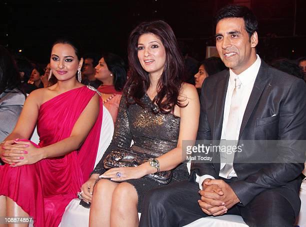 Sonakshi Sinha Twinkle Khanna and Akshay Kumar during the Stardust Awards function in Mumbai on Sunday evening