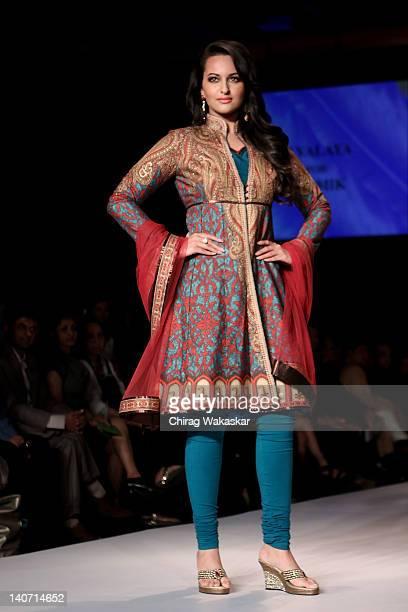 Sonakshi Sinha walks the runway at the Karmik show at Lakme Fashion Week Summer/Resort 2012 day 4 at the Grand Hyatt on March 5 2012 in Mumbai India