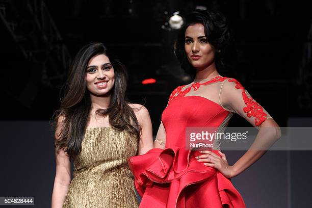 Sonal Singh Chauhan Indian fashion model and actress with Designer Nikhita during the Fourth Day of Amazon India Fashion Week AutumnWinter 2015 in...