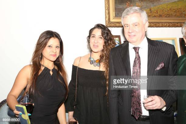 Sonali Arora Neena Singh and Fedor Rozovskiy during the celebration of the National Day of Russia hosted by the Embassy of the Russian Federation on...