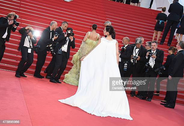 Sonam Kapoor and Cansu Dere attend the 'Inside Out' Premiere during the 68th annual Cannes Film Festival on May 18 2015 in Cannes France