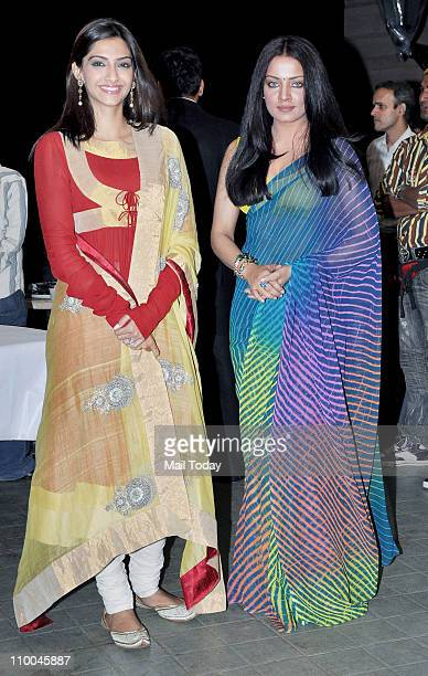 Sonam Kapoor and Celina Jaitley during a wedding ceremony and promotion of their latest film 'Thank You' at Madh Island Mumbai