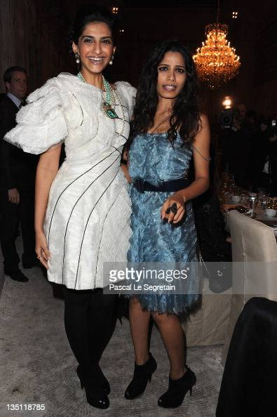 Sonam Kapoor and Freida Pinto attend the Chanel ParisBombay Show at Grand Palais on December 6 2011 in Paris France