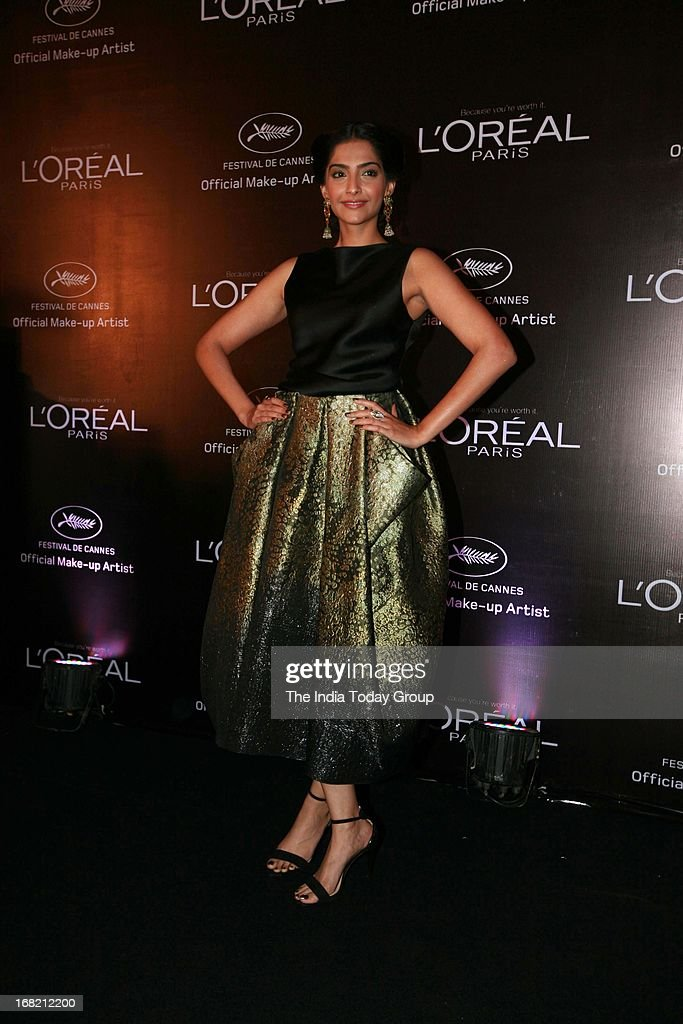 Sonam Kapoor at the unveiling of the L'Oreal Sunset Collection and Bollywood inspired looks for Cannes film festival.
