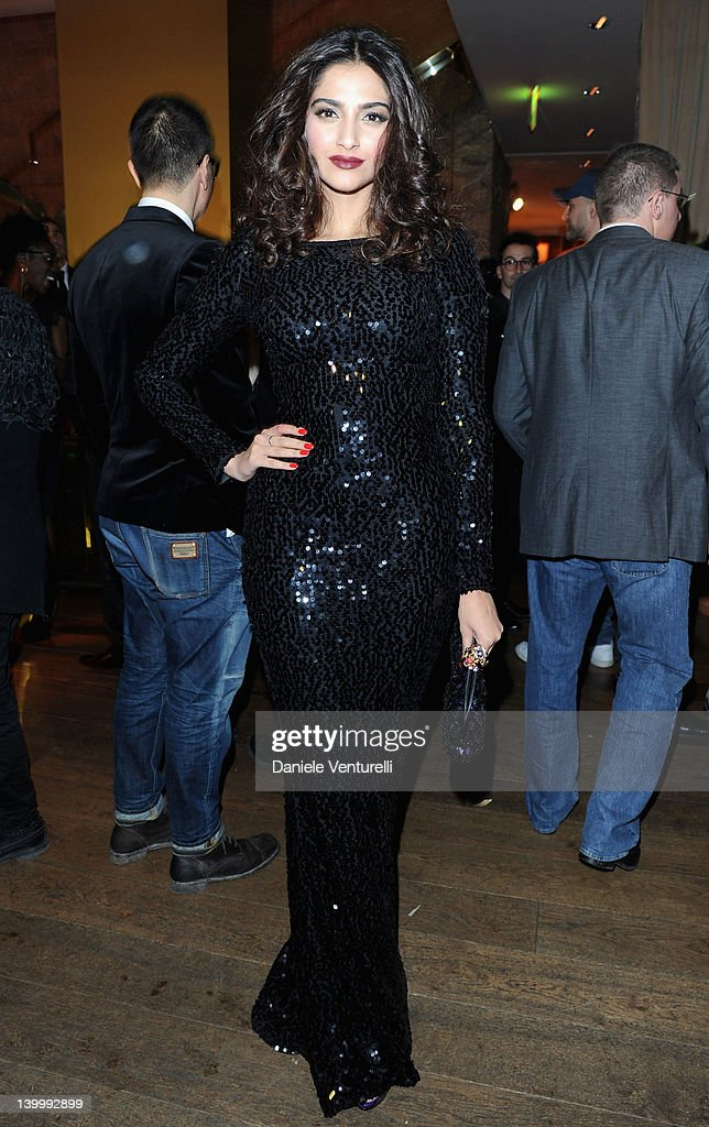 Sonam Kapoor attends Dolce Gabbana Cocktail Party at the Gold Restaurant as part of Milan Womenswear Fashion Week on February 26 2012 in Milan Italy