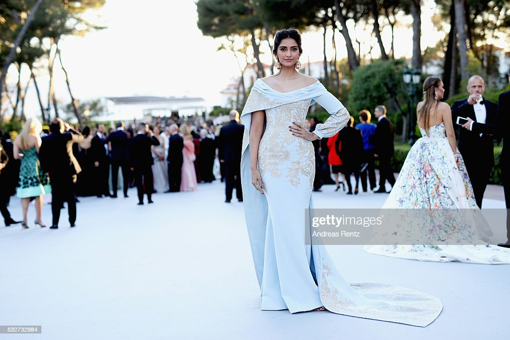 Sonam Kapoor attends the amfAR's 23rd Cinema Against AIDS Gala at Hotel du CapEdenRoc on May 19 2016 in Cap d'Antibes France