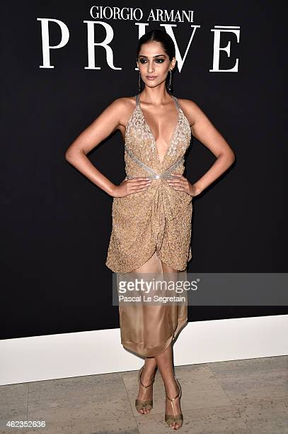 Sonam Kapoor attends the Giorgio Armani Prive show as part of Paris Fashion Week Haute Couture Spring/Summer 2015 on January 27 2015 in Paris France