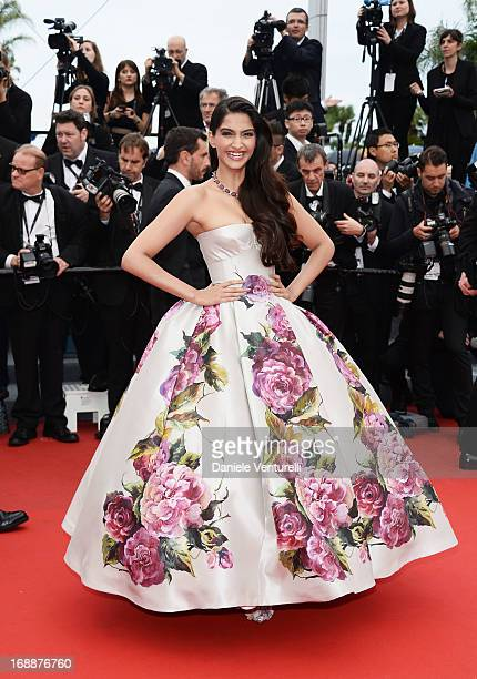 Sonam Kapoor attends the Premiere of 'Jeune Jolie' at The 66th Annual Cannes Film Festival at Palais des Festivals on May 16 2013 in Cannes France
