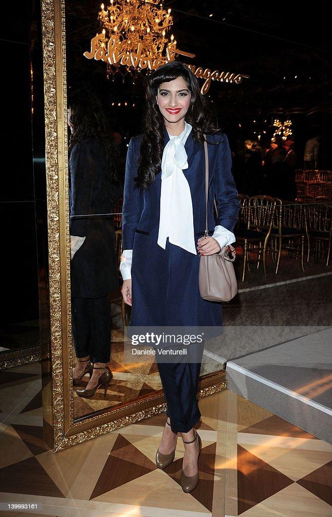 Sonam Kapoor attends the Salvatore Ferragamo Autumn/Winter 2012/2013 fashion show as part of Milan Womenswear Fashion Week on February 26 2012 in...