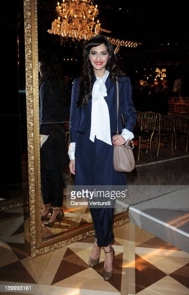 Sonam Kapoor attends the Salvatore Ferragamo Autumn/Winter 2012/2013 fashion show as part of Milan Womenswear Fashion Week on February 26 2012 in...