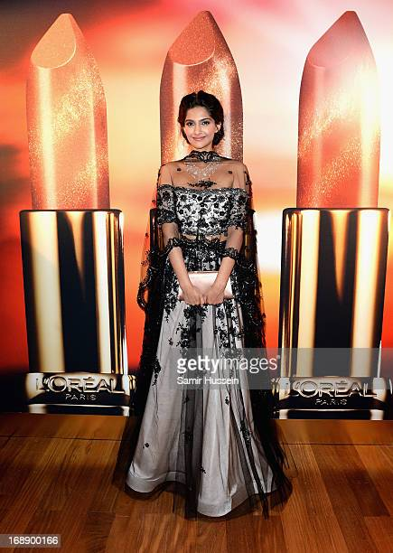 Sonam Kapoor attends the Soiree Warm Up L'Oreal during L'Oreal At The 66th Cannes Film Festival at the Roof Top Martinez Hotel on May 16 2013 in...
