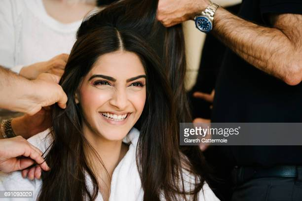 Sonam Kapoor backstage before the red carpet at the Martinez Hotel during the 70th annual Cannes Film Festival on May 21 2017 in Cannes France