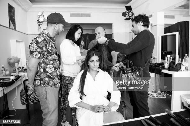 Sonam Kapoor during the hair session at the 70th annual Cannes Film Festival on May 21 2017 in Cannes France