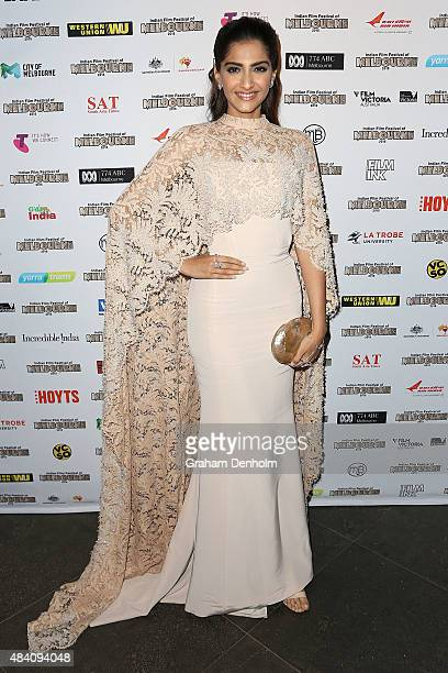 Sonam Kapoor poses as she arrives at the Indian Film Festival of Melbourne Awards Night at the National Gallery of Victoria on August 15 2015 in...