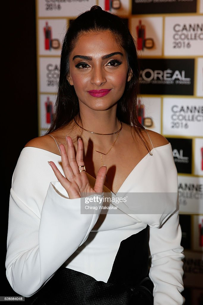 Sonam Kapoor poses for pictures at the L'Oreal Paris Photocall at JW Mariott ahead of The 69th Annual Cannes Film Festival on May 06 2016 in Mumbai...