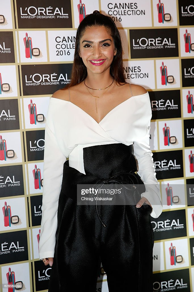 <a gi-track='captionPersonalityLinkClicked' href=/galleries/search?phrase=Sonam+Kapoor&family=editorial&specificpeople=4504004 ng-click='$event.stopPropagation()'>Sonam Kapoor</a> poses for pictures at the L'Oreal Paris Photocall at JW Mariott ahead of The 69th Annual Cannes Film Festival on May 06, 2016 in Mumbai, Maharashtra.