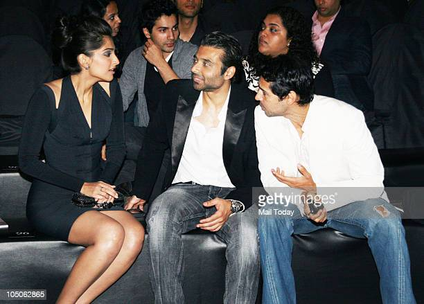 Sonam Kapoor Uday Chopra and Dino Morea chat at Day II of the HDIL Couture fashion week in Mumbai on October 7 2010