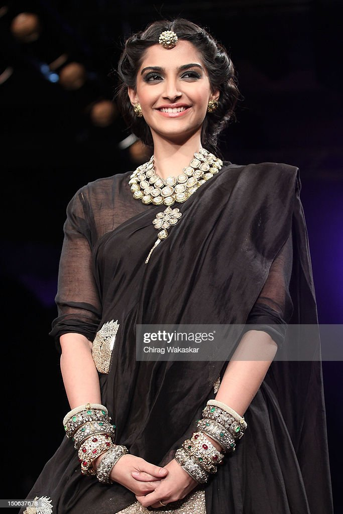 Sonam Kapoor walks the runway at the PCJ Grand Finale show of India International Jewellery Week 2012 day 5 at the Grand Hyatt on August 23, 2012 in Mumbai, India.