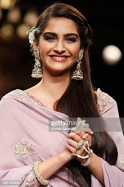 Sonam Kapoor walks the runway during Grand Finale of the India International Jewellery Week at the Grand Hyatt on August 6 2015 in Mumbai India