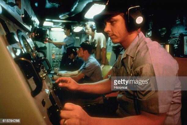 A sonar operator mans equipment in the control room of a nuclearpowered fleet ballistic missile submarine | Location control center of unknown US...