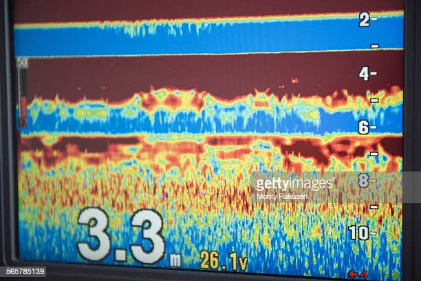 Sonar reading on computer screen of research ship
