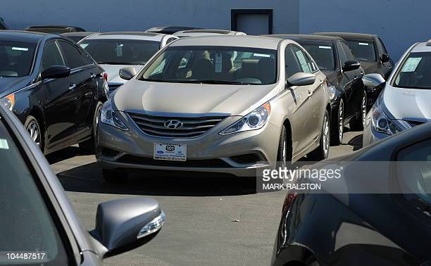Sonata sedans at a Hyundai dealership in Los Angeles on September 27 2010 South Korea's top automaker Hyundai Motor is recalling nearly 140000 of its...