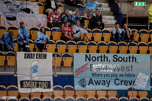 Sonderjyske fans from Denmark during the Champions Hockey League group stage game between HV71 Jonkoping and SonderjyskE Vojens on August 29 2015 in...