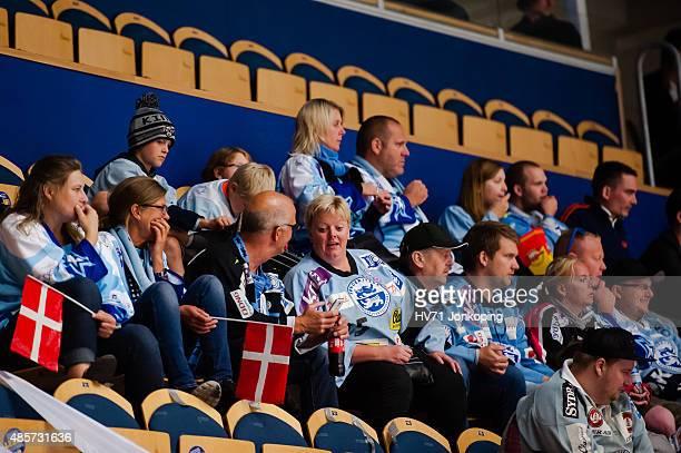 Sonderjyske fans from Denmark during the Champions Hockey League group stage game between HV71 Jonkoping and SonderjyskE Vojens on August 29 2015 in...