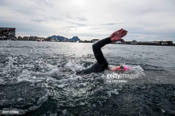 Sondre Runar Kjaer testing the water before The Arctic Triple // Lofoten Triathlon Olympic distance on August 18 2017 in Svolvar Norway Lofoten...