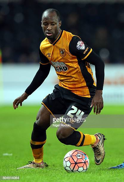 Sone Aluko of Hull City during The Emirates FA Cup Third Round match between Hull City and Brighton Hove Albion at KC Stadium on January 9 2016 in...