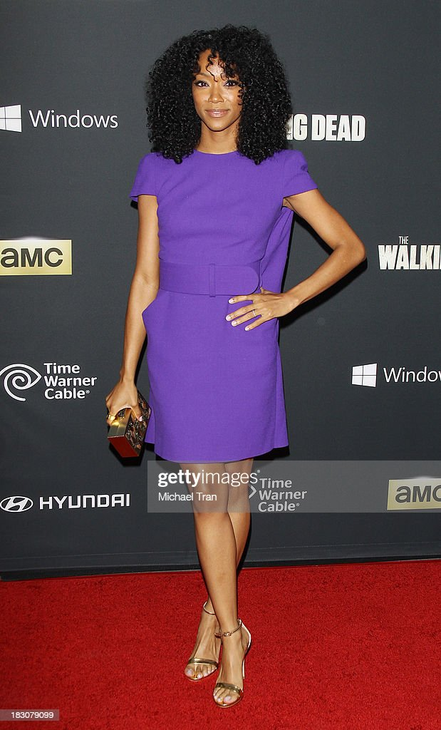 <a gi-track='captionPersonalityLinkClicked' href=/galleries/search?phrase=Sonequa+Martin-Green&family=editorial&specificpeople=8718060 ng-click='$event.stopPropagation()'>Sonequa Martin-Green</a> arrives at the Los Angeles premiere of AMC's 'The Walking Dead' 4th season held at Universal CityWalk on October 3, 2013 in Universal City, California.