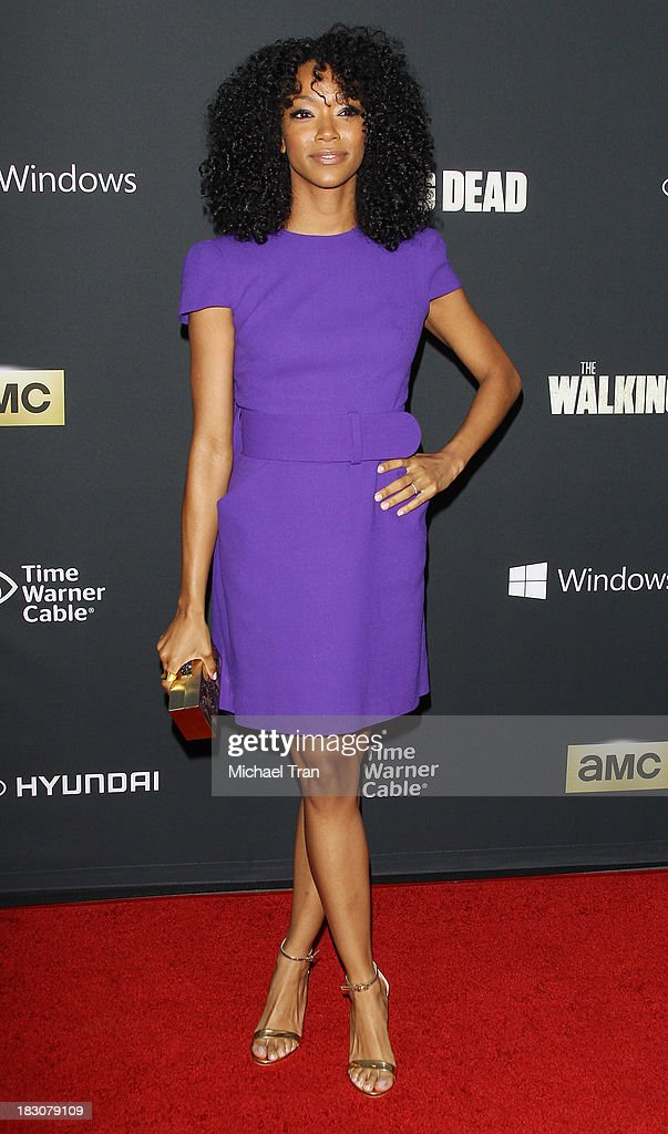 Sonequa Martin-Green arrives at the Los Angeles premiere of AMC's 'The Walking Dead' 4th season held at Universal CityWalk on October 3, 2013 in Universal City, California.
