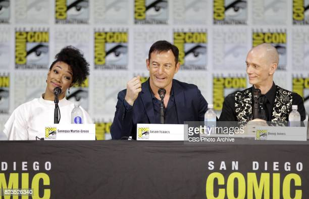 Sonequa MartinGreen Jason Isaacs Doug Jones during the 'Star Trek Discovery' panel at ComicCon 2017 held in San Diego Ca