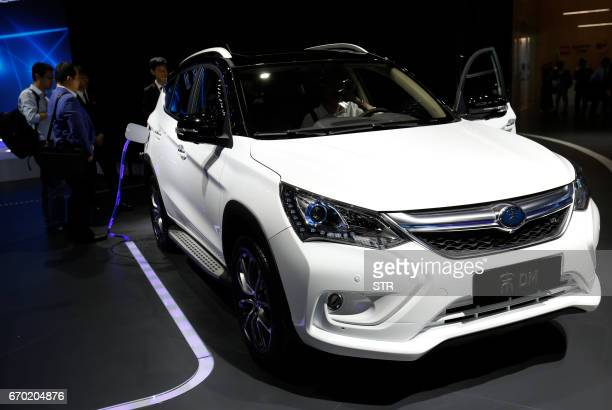 A BYD 'Song' DM car is displayed during the first day of the 17th Shanghai International Automobile Industry Exhibition in Shanghai on April 19 2017...