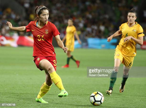 Song Duan of China PR passes the ball during the Women's International match between the Australian Matildas and China PR at AAMI Park on November 22...