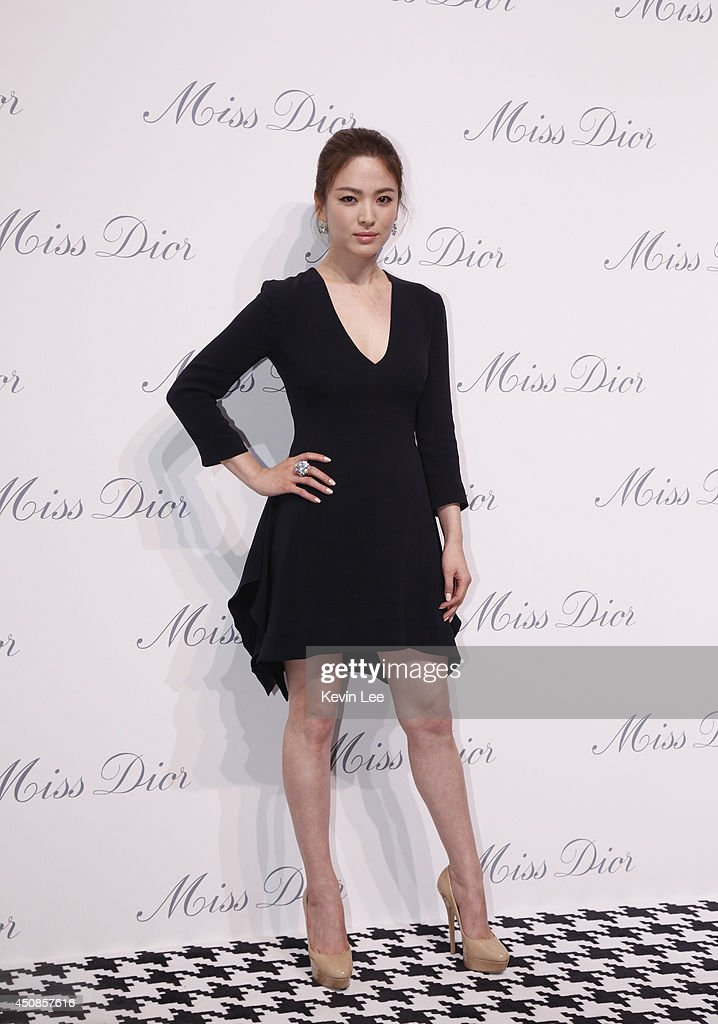 Song Hye Kyo poses for a picture at Miss Dior Exhibition on June 19 2014 in Shanghai China