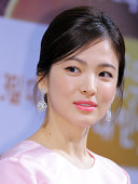 Song HyeKyo attends the movie 'My Brilliant Life' press conference at Apgujeong CGV on August 4 2014 in Seoul South Korea