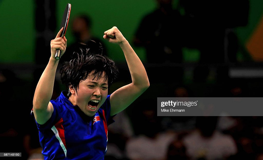 Song I Kim of the Peoples Republic of Korea celebrates winning a Women's Singles third round match against Kasumi Ishikawa of Japan on Day 2 of the Rio 2016 Olympic Games at Riocentro - Pavilion 3 on August 7, 2016 in Rio de Janeiro, Brazil.