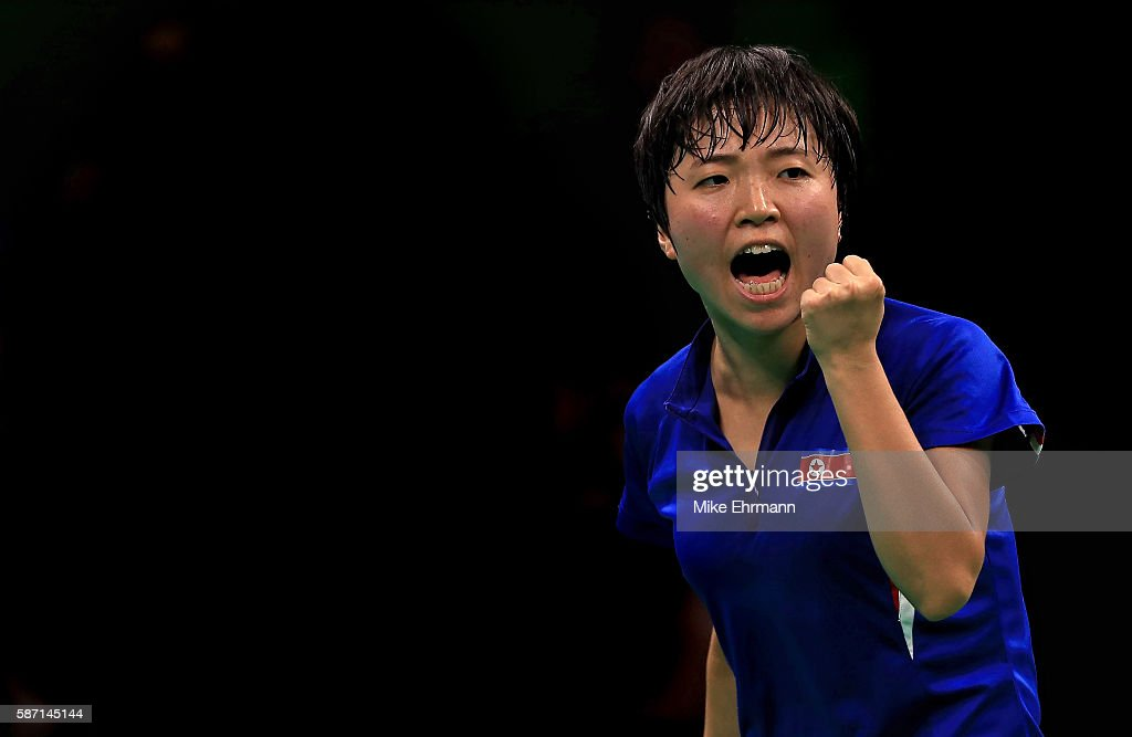 Song I Kim of the Peoples Republic of Korea plays a Women's Singles third round match against Kasumi Ishikawa of Japan on Day 2 of the Rio 2016 Olympic Games at Riocentro - Pavilion 3 on August 7, 2016 in Rio de Janeiro, Brazil.