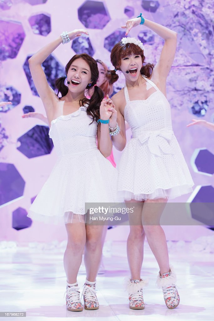 Song Ji-Eun and Jun Hyo-Seong of South Korean girl group Secret perform onstage during the Mnet 'M CountDown' at CJ E&M Center on May 02, 2013 in Seoul, South Korea.