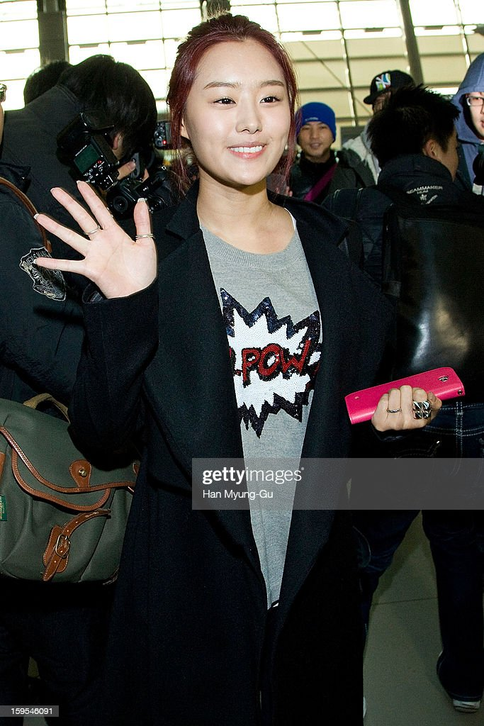 Song Ji-Eun of South Korean girl group Secret is seen at Incheon International Airport on January 15, 2013 in Incheon, South Korea.