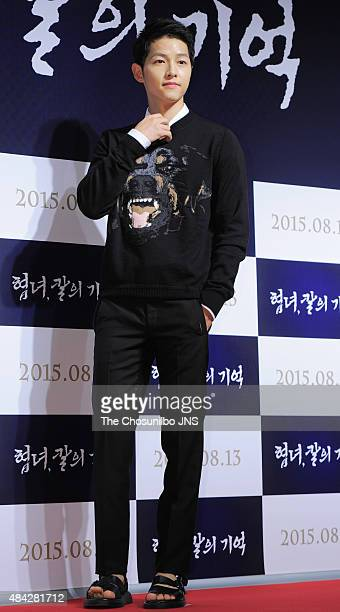 Song JoongKi attends the movie 'Memories of the Sword' VIP premiere at Lotte Cinema on August 11 2015 in Seoul South Korea