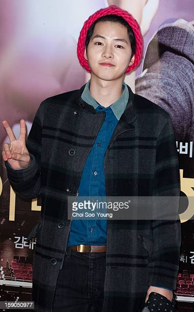 Song JoongKi attends the 'My Little Hero' Vip Press Screening at Wangsimni CGV on January 3 2013 in Seoul South Korea