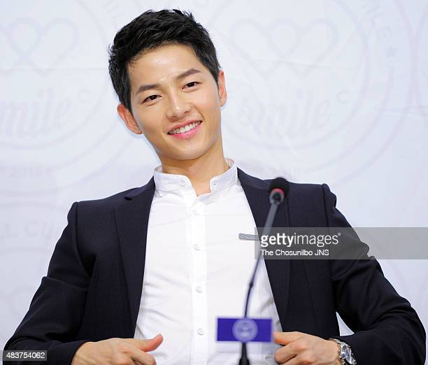 Song JoongKi attends the soccer club 'FC Smile' inauguration ceremony at Kim Koo Museum on August 10 2015 in Seoul South Korea