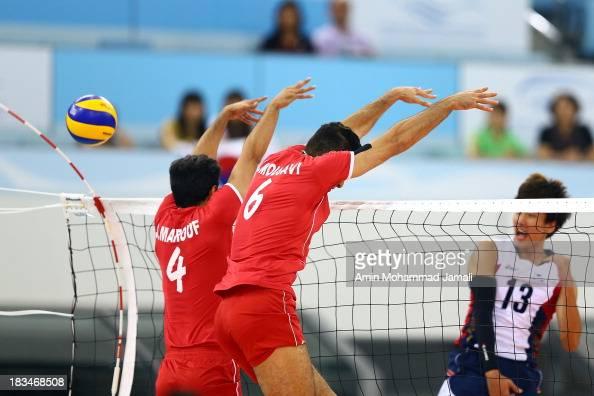 Song Meyunggeun during 17th Asian Men's Volleyball Championship between Iran And Korea on October 6 2013 in Dubai United Arab Emirates