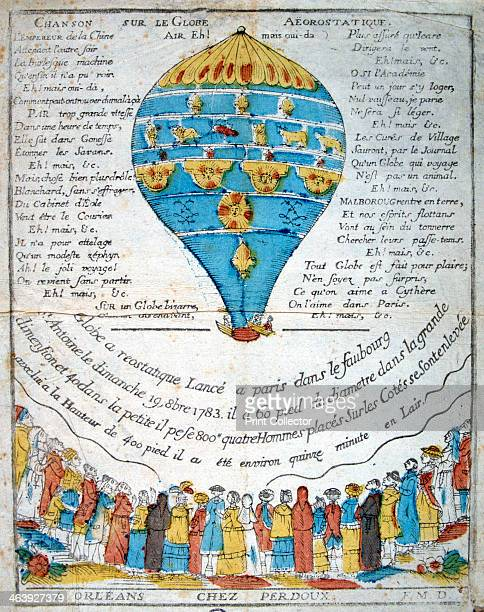 Song on the aerostatic sphere 18th century Commemorating the Montgolfier Brothers' balloon experiment in the garden of M Reveillon on 19 October 1783