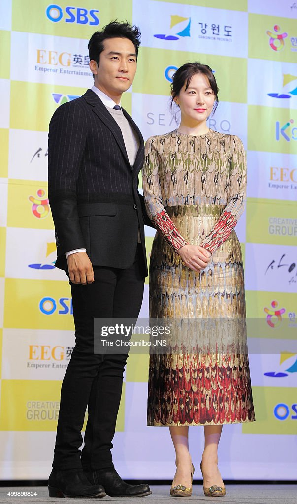 Song Seungheon and Lee Youngae attend SBS drama 'Saimdang the Herstory' press conference at Seamarq Hotel on November 30 2015 in Gangwondo South Korea