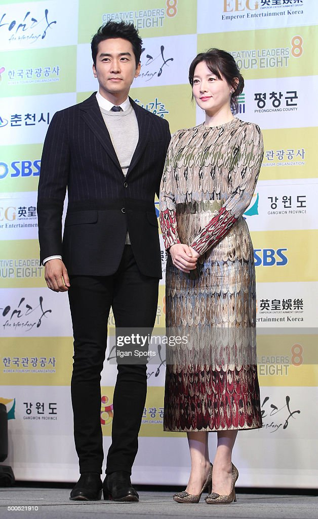 Song Seungheon and Lee Youngae attend SBS 'Saimdang the Herstory' press conference at Seamarq Hotel on November 30 2015 in Gangwondo South Korea
