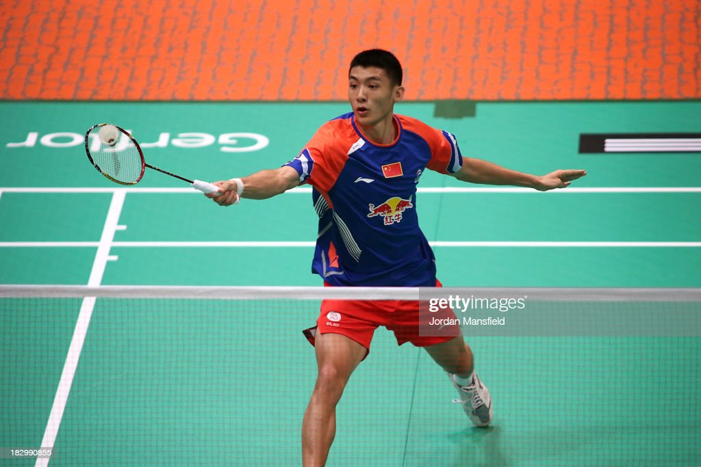 Song Xue of China in action during his mens singles match against Chun Seang Tan of Malaysia during Day 3 of the London Badminton Grand Prix at The Copper Box on October 3, 2013 in London, England.