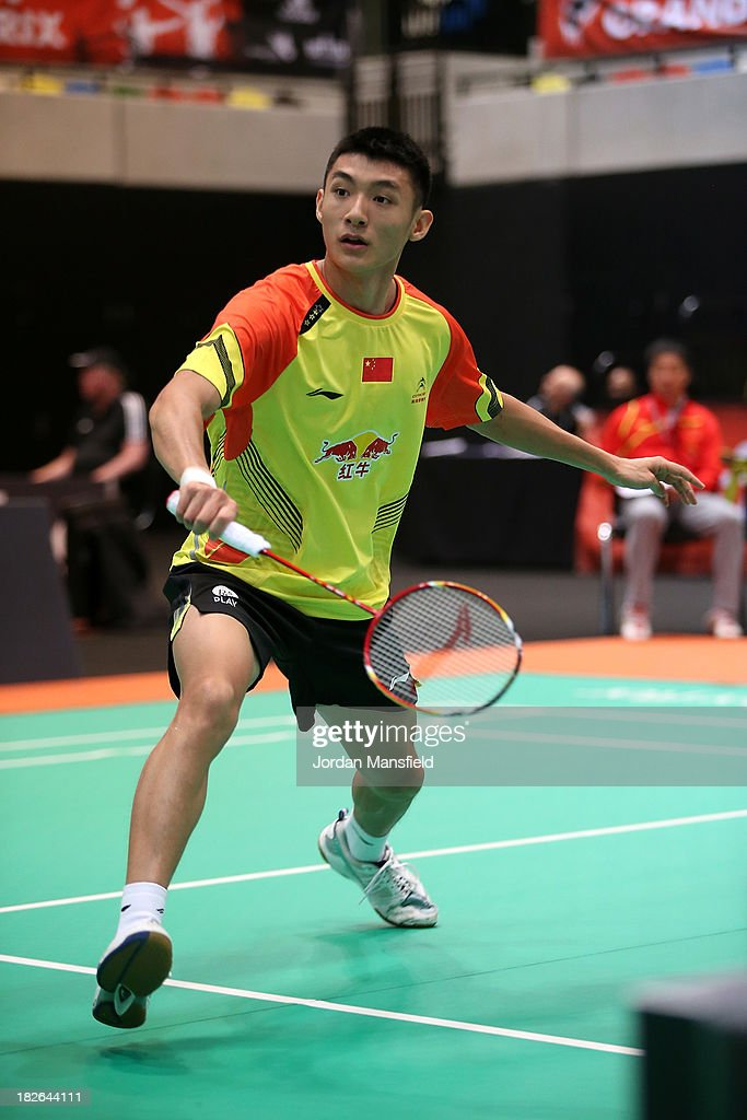 Song Xue of China in action in his second round match against Dmytro Zavadsky of Ukraine during Day Two of the London Badminton Grand Prix at The Copper Box on October 2, 2013 in London, England.